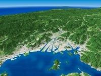 広島湾上空から日本海へ向けて広島平野と周辺地形を望む