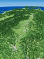 宮城県北部上空より北上川と北上盆地を眼下に見下ろす