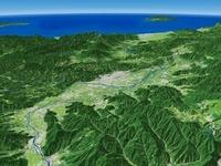 長野県東部より千曲川を中心に日本海へ向けて盆地を見下ろす
