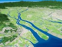 伊勢湾上空から木曽川を中心に名古屋市、濃尾平野を望む