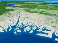 大阪湾より琵琶湖に向けて淀川を中心とした大阪平野を望む