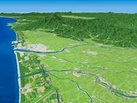 鶴岡市より鳥海山へ向けて最上川を中心に庄内平野を望む