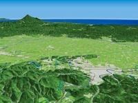 横手市上空より日本海へ向けて横手盆地から鳥海山を望む