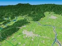 会津坂下町と只見川と阿賀川の周辺地域を望む