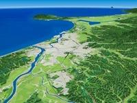 雄物川と秋田平野を男鹿半島へ向けて望む