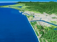 日本海上空の雄物川河口から八郎潟へ向けた秋田平野を望む