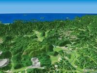 山口県南部上空から日本海へ向けて秋吉台を望む