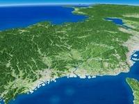 播磨灘上空から若狭湾へ向けて播磨平野を含む兵庫県を望む