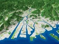 広島湾上空から広島市市街部を望む