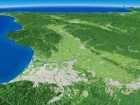 札幌市南西部上空より石狩川周辺地形を望む