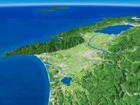 島根県中央部上空より日本海、宍道湖へ向けた出雲平野を望む