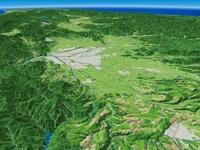 北海道上川南部上空より北部へ向けて旭川市を望む