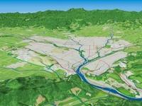 大雪山系へ向けて石狩川水系に発達した上川盆地を望む