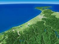 福井県上空から石川県に向けて金沢平野と手取川を望む