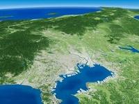 東京湾上空から日本海へ向けて広域な関東平野を望む