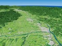 岩手県南部上空より北上川、和賀川を中心として花巻市を望む