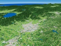 福島県南東部上空より猪苗代湖、磐梯山へ向けて郡山市を望む