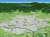 福島県県央部上空から阿武隈川と郡山市を中心に望む