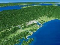 太平洋高知沖から瀬戸内海へ四国山地と四国平野を望む