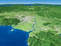 島原湾上空から阿蘇へ向けて熊本平野と周辺地形を望む