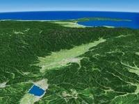 長野県東部上空から富山平野へ向けて松本盆地と周辺地形を望む