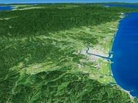 宮崎県南部上空から九州山地と宮崎平野と周辺地形を望む