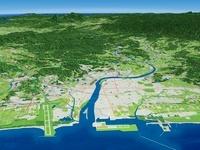 日向灘上空から大淀川を中心に宮崎平野と周辺地形を望む