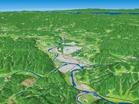 広島県三次市西部より馬洗川を中心とした盆地を眺める
