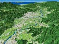 千曲川を中心に長野盆地と周辺地形を日本海へ向けて望む