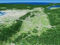 紀伊山地上空より京都、大阪を含めた奈良盆地を眺める