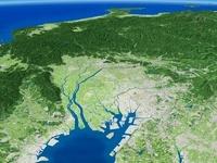 伊勢湾上空より北アルプスへ向けて眼下に望む愛知県と濃尾平野