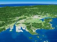 瀬戸内海倉敷市沖上空から日本海へ望む岡山平野と周辺地形