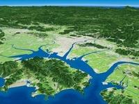 小豆島上空から岡山港と周辺河川と中国山地を望む