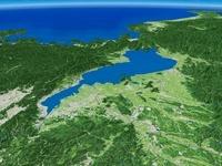 三重県北部上空より琵琶湖を中心とした近江盆地を望む