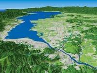 滋賀県北部より琵琶湖と近江盆地と周辺地形を望む