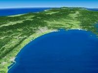 太平洋福島沖上空から奥羽山脈へ向けた仙台平野周辺の広域眺望