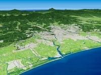 太平洋仙台市沖から名取川を中心に望む仙台市と周辺地形