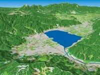 松本市上空から八ヶ岳高原へ向けて諏訪湖を眺める