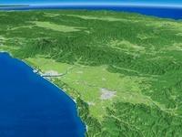 日本海鶴岡市沖から最上川を中心に望む広域な平野と周辺地形