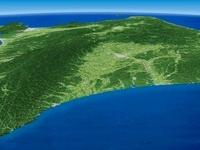 北海道十勝沖より広域に望む大雪山系、日高山脈、十勝平野
