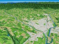 北海道帯広市東部から日高山脈に望む十勝平野と帯広市