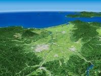 青森県南部上空より望む弘前市、岩木山、津軽平野と周辺地形