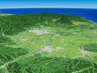 青森市上空より岩木山へ向けて津軽平野と周辺地形を望む