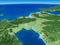 有明湾上空より玄界灘へ広域に望む筑紫平野と周辺地形