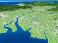 有明湾より筑後川を中心に福岡方面へ筑紫平野を望む
