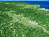 山形県南部上空より最上川を中心とした山形盆地と広域地形
