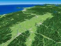 秋田県南部上空より男鹿半島へ向けて横手盆地を広域に眺望