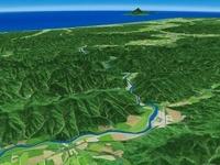 北海道中川町上空から天塩川を望む
