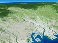 東京湾上空から望む関東平野を流れる荒川
