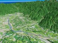 韮崎市から南アルプス市の扇状地を望む